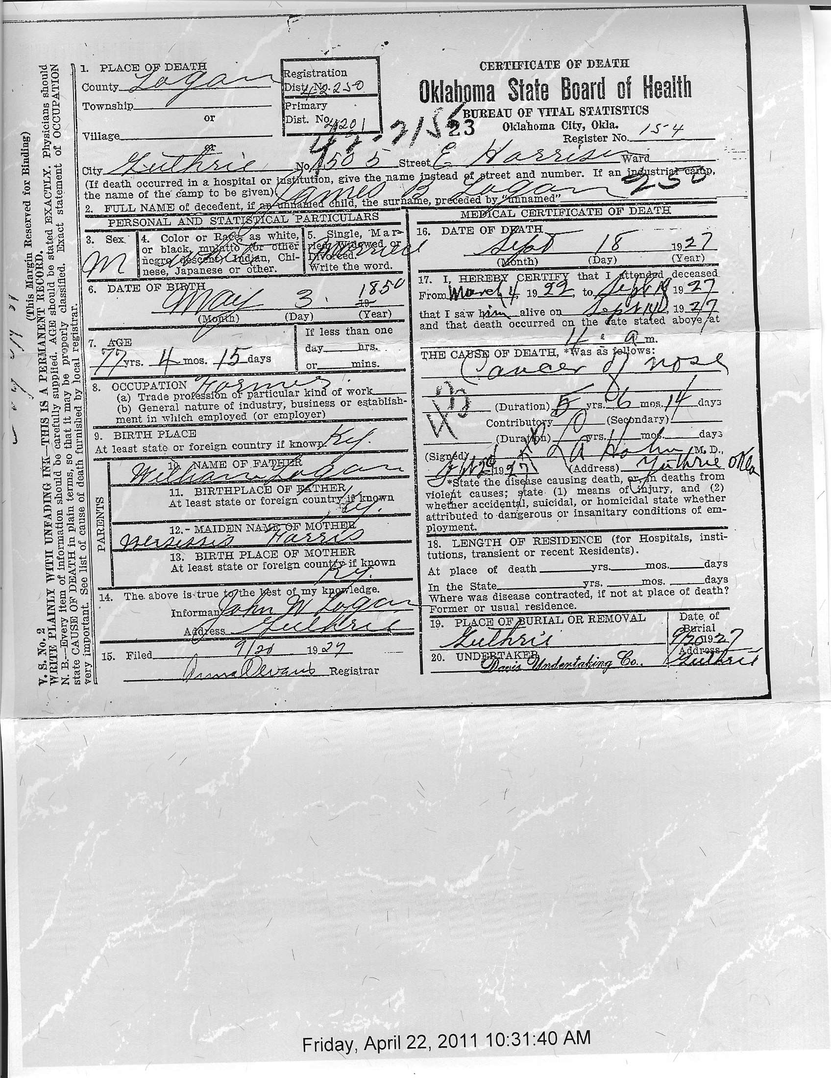 Speaking of family death certificate of james b logan oklahoma death certificate of james b logan oklahoma 1betcityfo Images